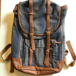 Boho backpack denim print brown blue